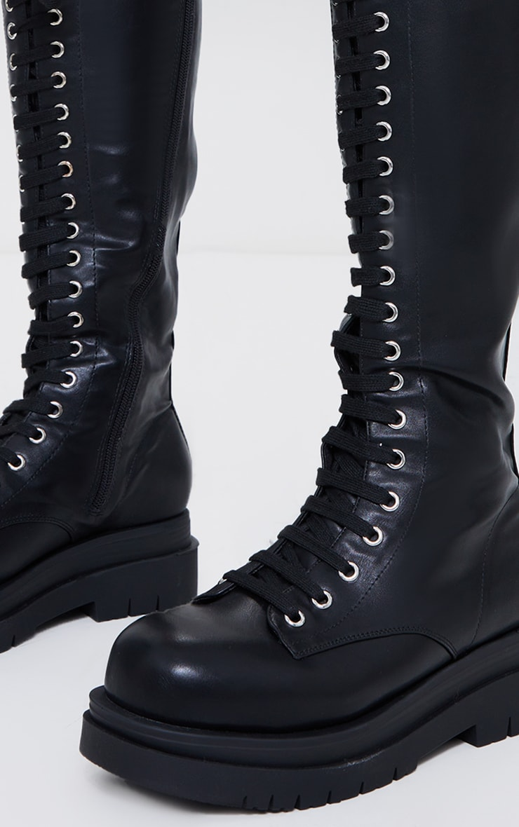 Black PU Lace Up Knee High Double Sole Boots 3