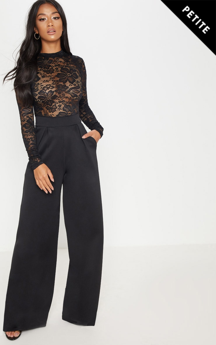 Petite Black Lace High Neck Long Sleeve Jumpsuit