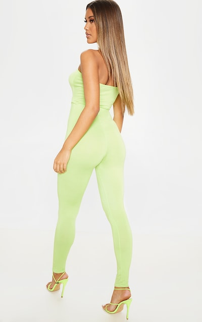 Lime Bandeau Cut Out Jumpsuit
