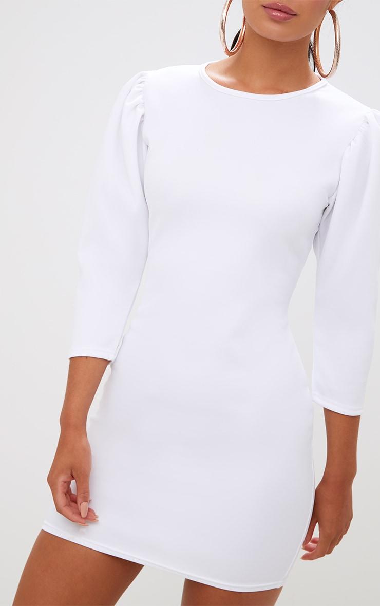 White Puff Detail 3/4 Sleeve Bodycon Dress 5