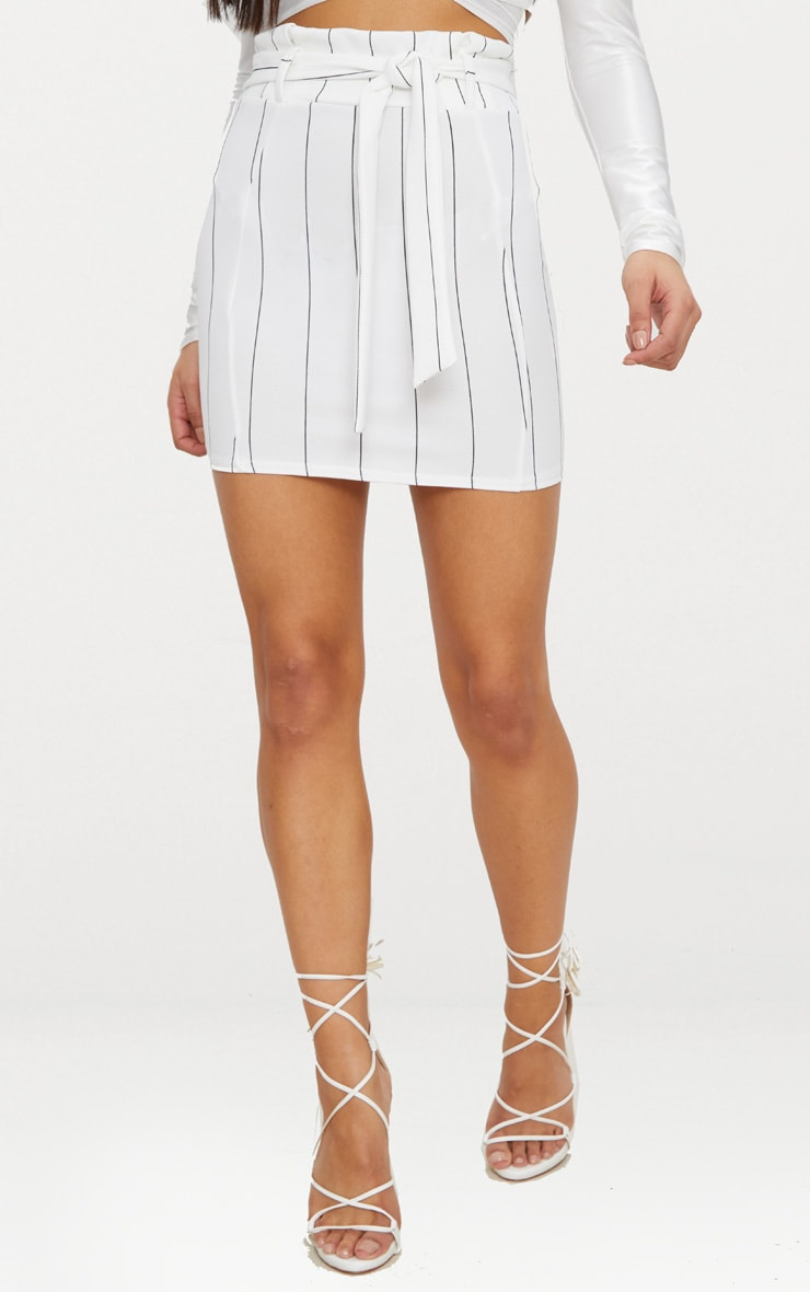 White Pinstripe Tie Waist Mini Skirt 2