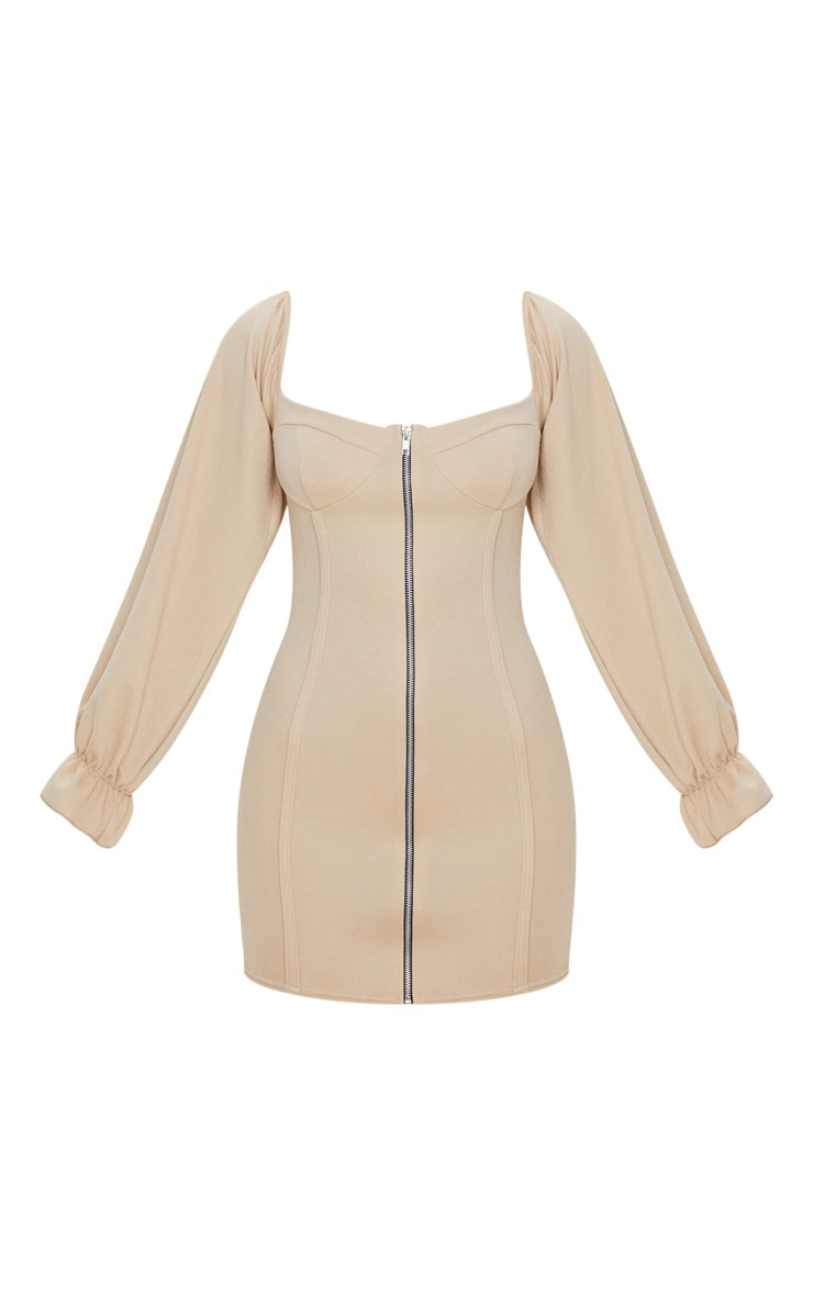 Fawn Zip Up Cup Detail Balloon Sleeve Bodycon Dress 3