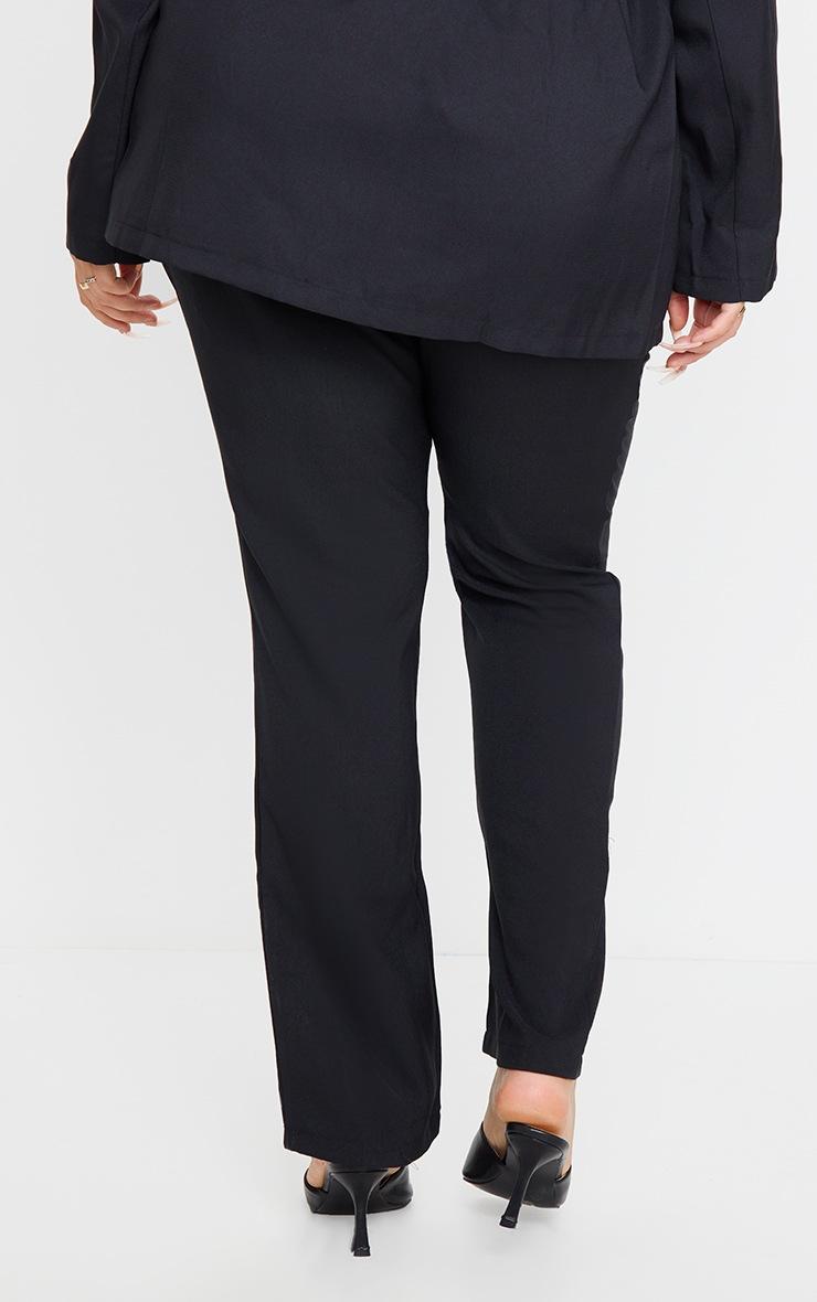 PLT Plus - Pantalon droit à taille haute en maille noire 3