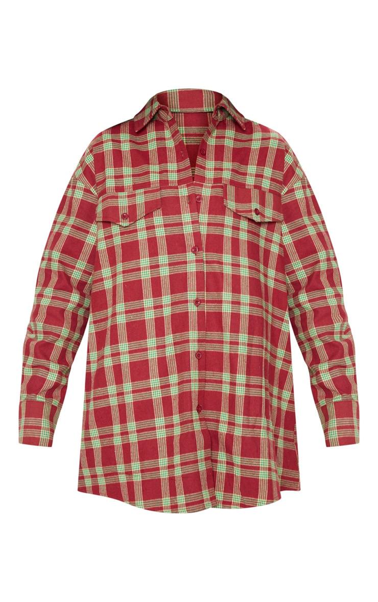 Burgundy Tartan Checked Oversized Shirt 3