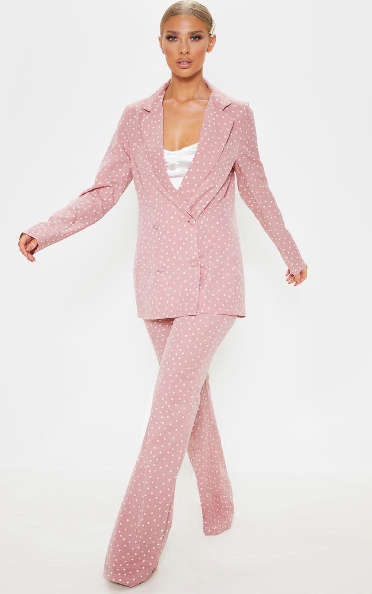 Pastel Pink Polka Dot Longline Woven Blazer 4