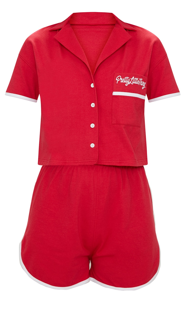 PRETTYLITTLETHING Red Embroidered Short PJ Set 3