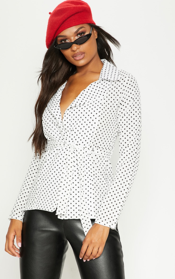 Black Polka Dot Belted Top