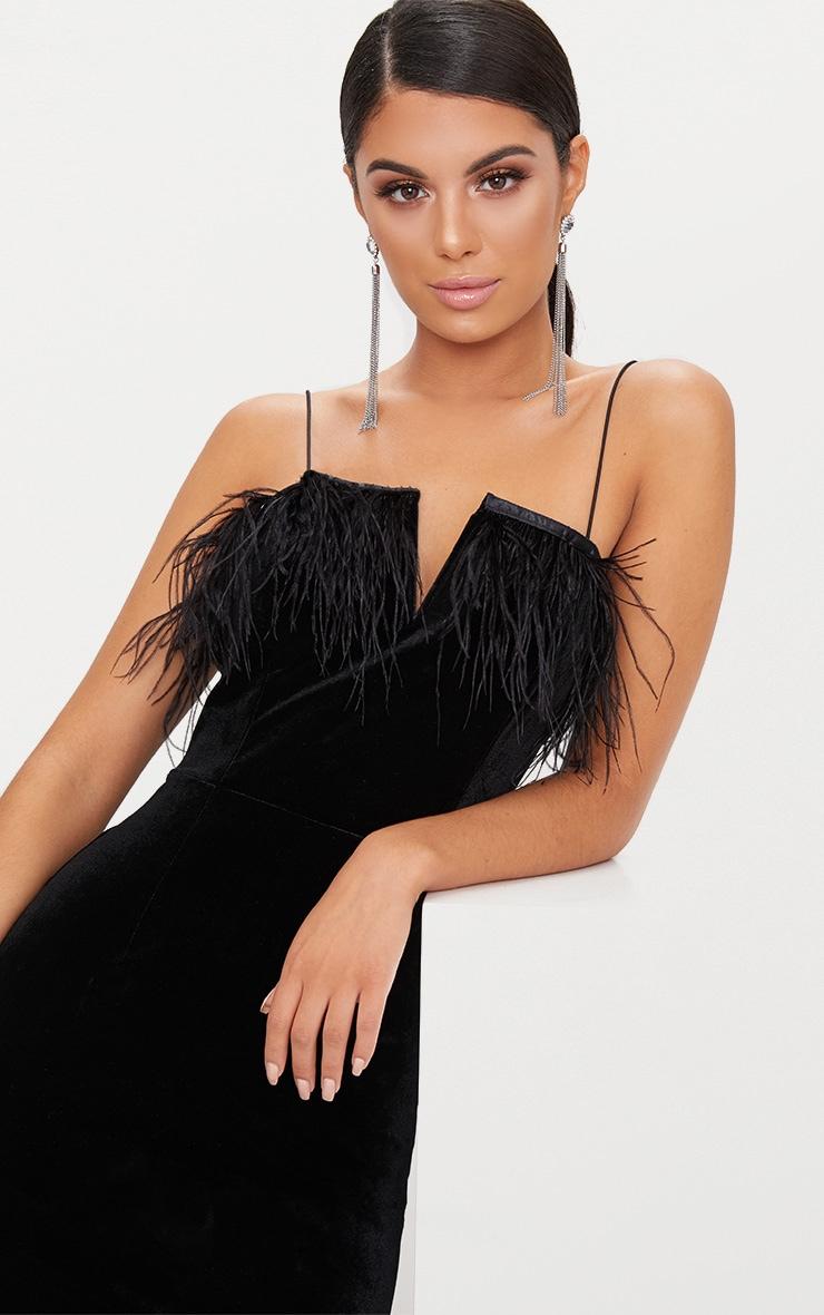 Black Velvet V Plunge Feather Trim Bodycon Dress  5
