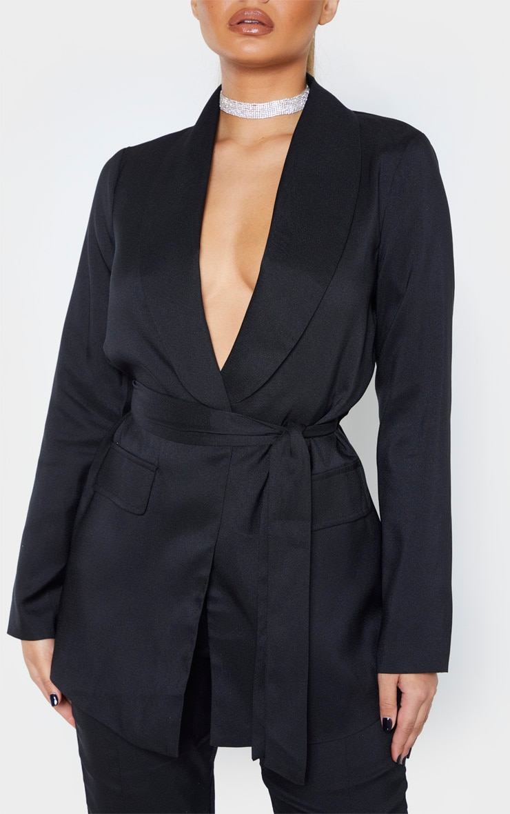 Black Belted Lapel Detail Woven Blazer 5