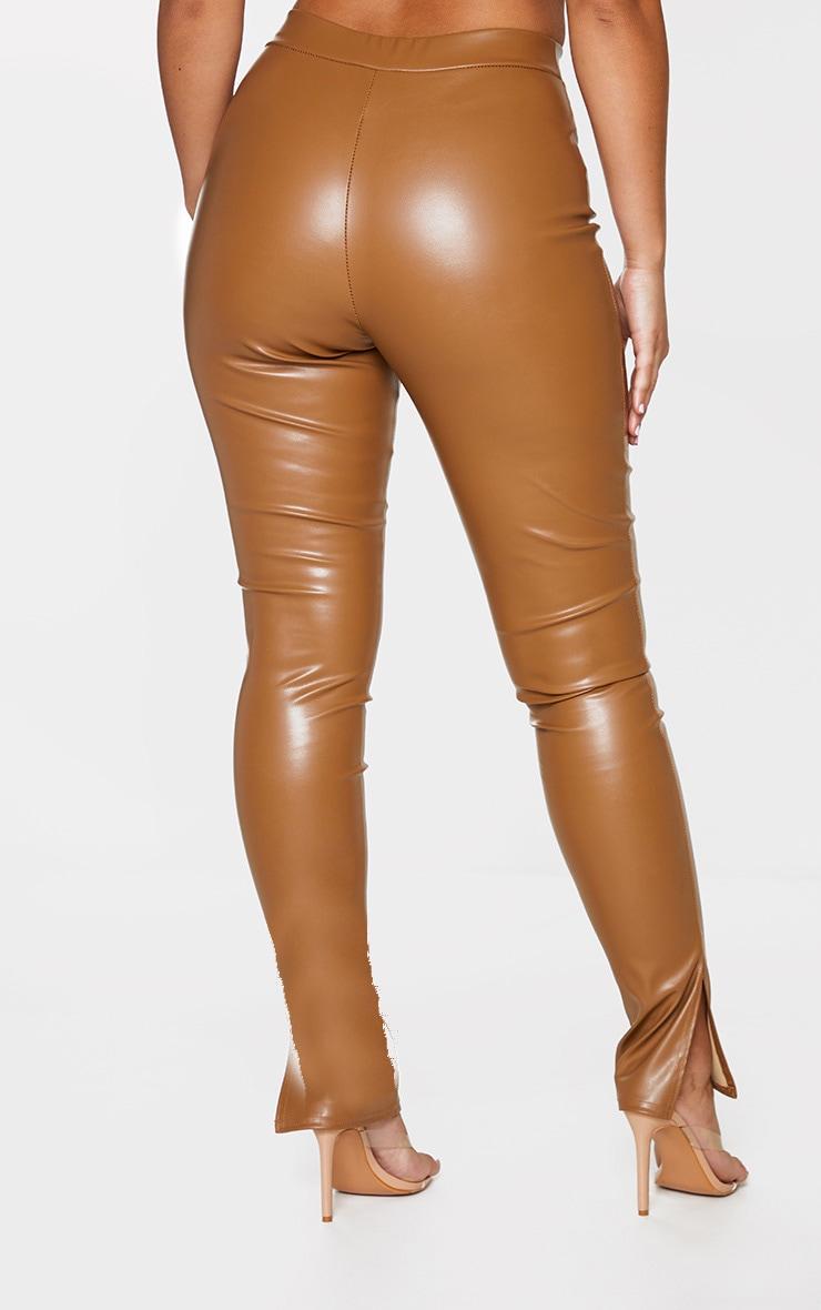 Tan Faux Leather Split Hem Skinny Trousers 3