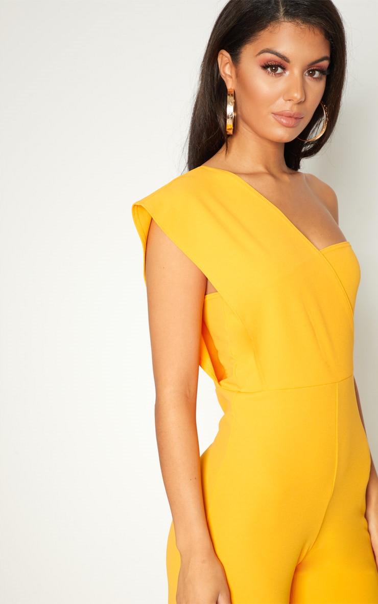 Orange Drape One Shoulder Jumpsuit 5