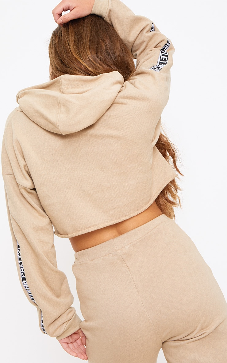 PRETTYLITTLETHING Petite Taupe Cropped Hoodie 2