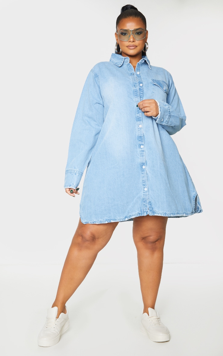 Plus Blue Oversized Denim Shirt Dress 4