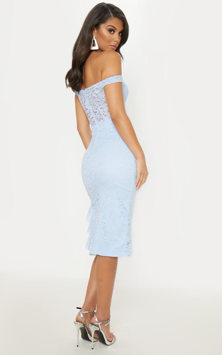 Dusty Blue Lace Bardot Sheer Panel Frill Hem Midi Dress 2