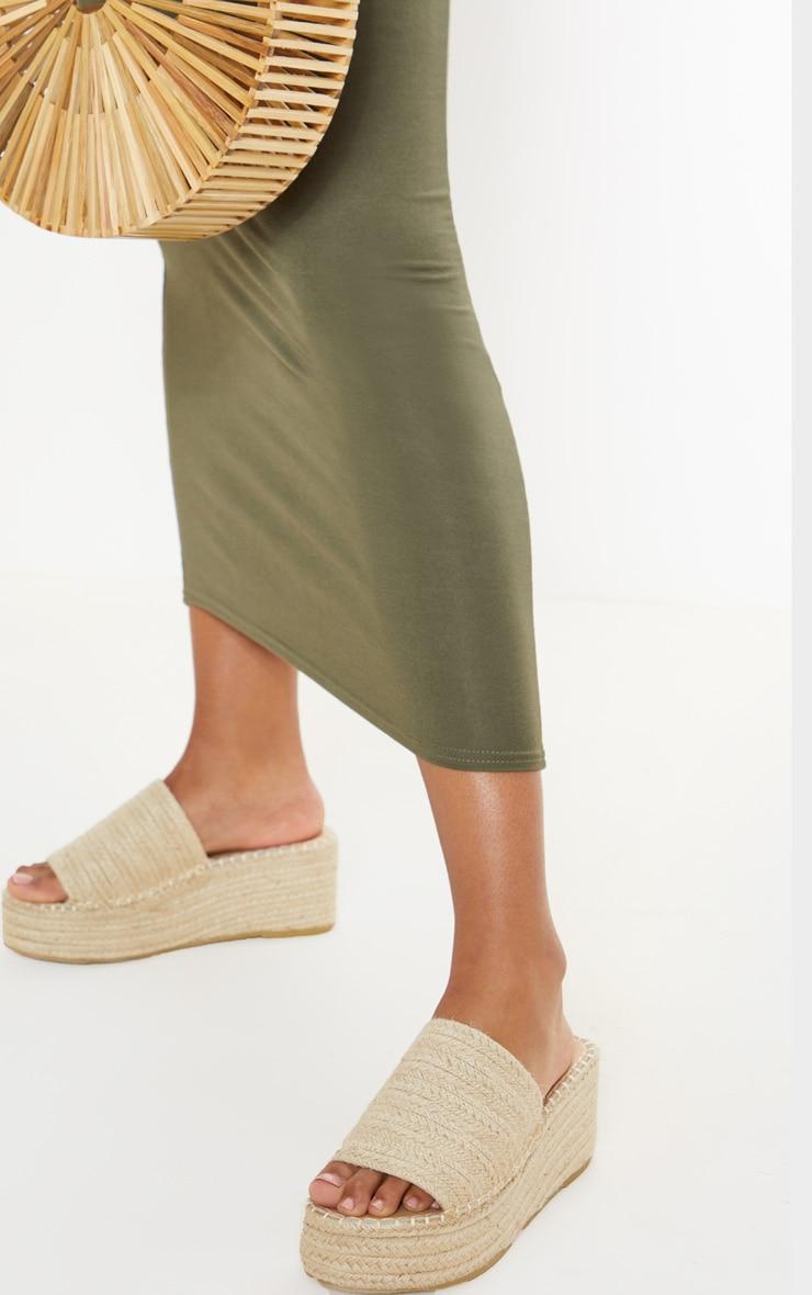 Natural Espadrille Mule Flatform Sandal 1