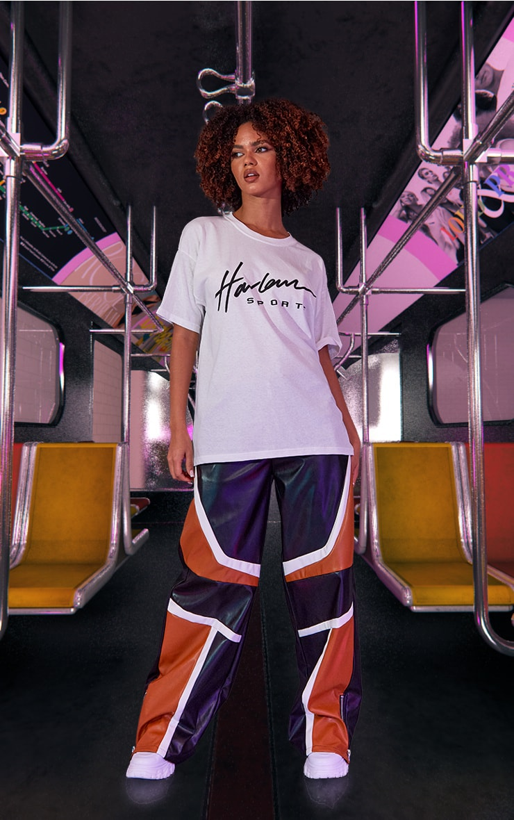 White Unisex Harlem Graphic Print Oversized T Shirt 3