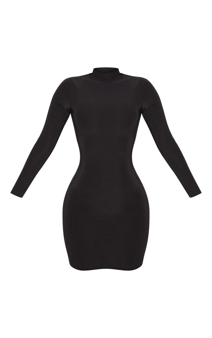 Shape Black Slinky High Neck Bodycon Dress 3