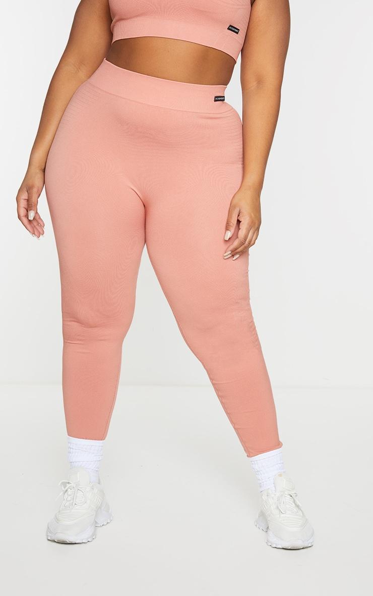 Plus Pink Seamless Rib Waist Gym Leggings 2