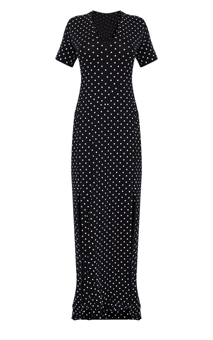 Black Polka Dot Print Split Detail Maxi Dress 5