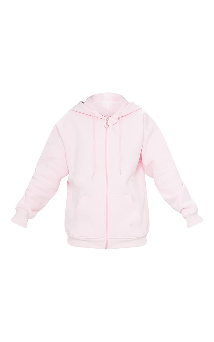Petite Pink Extreme Oversized Pocket Front Zip Through Hoodie 5