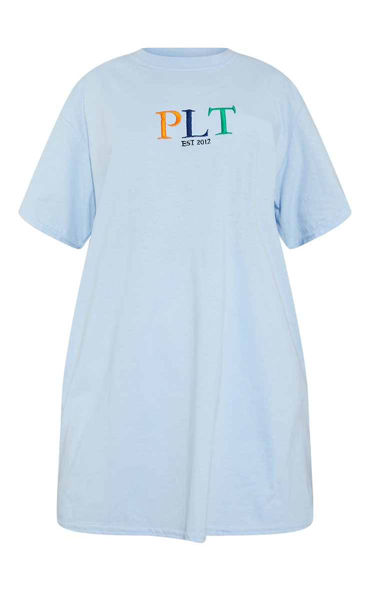 PRETTYLITTLETHING Baby Blue Multi Embroidered T Shirt 5