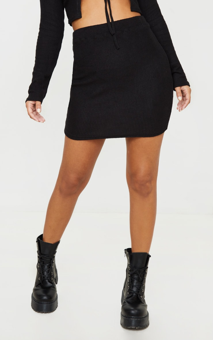 Petite Black Brushed Rib Mini Skirt 2