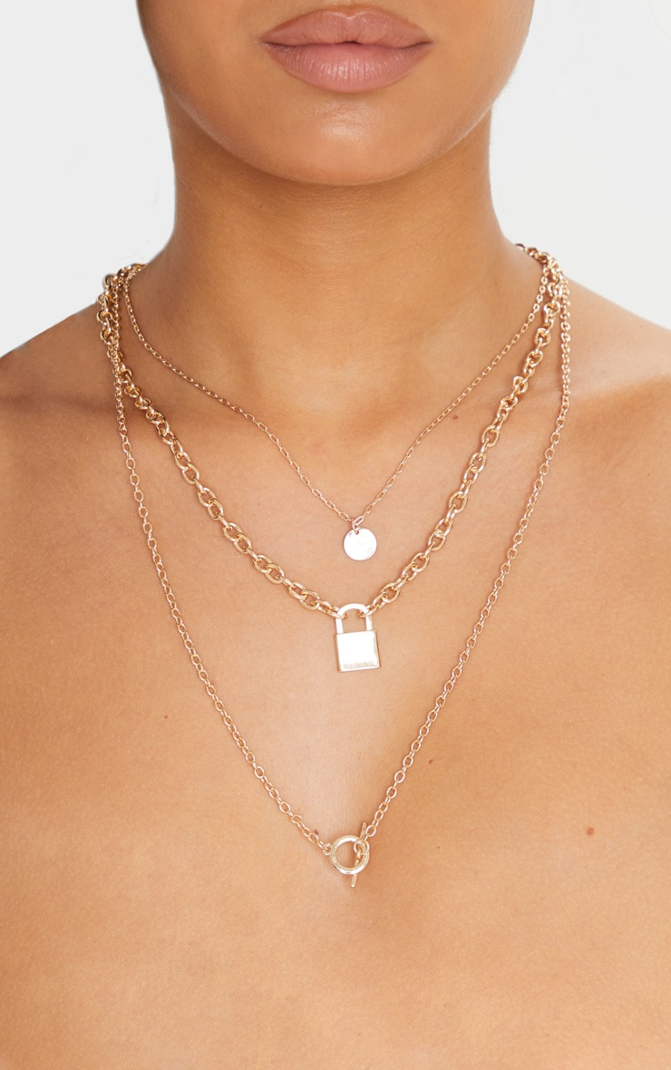 Gold T Bar And Padlock Triple Layering Necklace 1