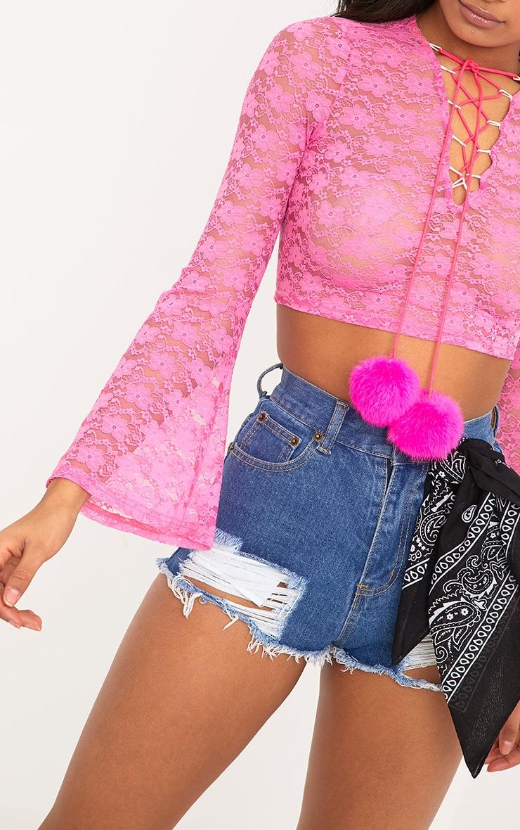 Izobell Pink Lace Pom Pom Top  6