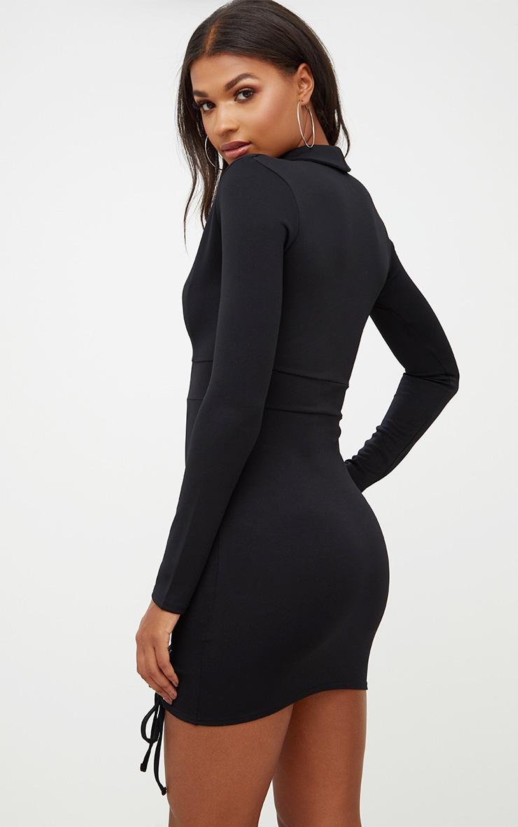 Black Lace Up Detail Blazer Bodycon Dress 2