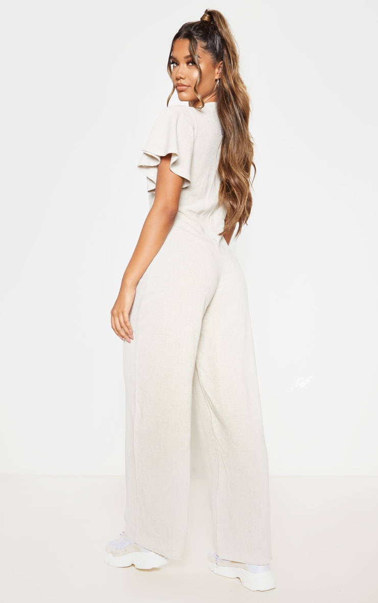 Stone Woven Frill Sleeve Wide Leg Jumpsuit 2