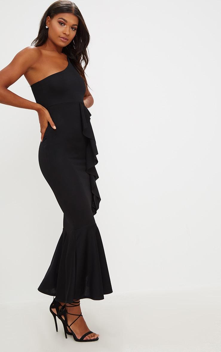 Black Ruffle Detail One Shoulder Midaxi Dress 4
