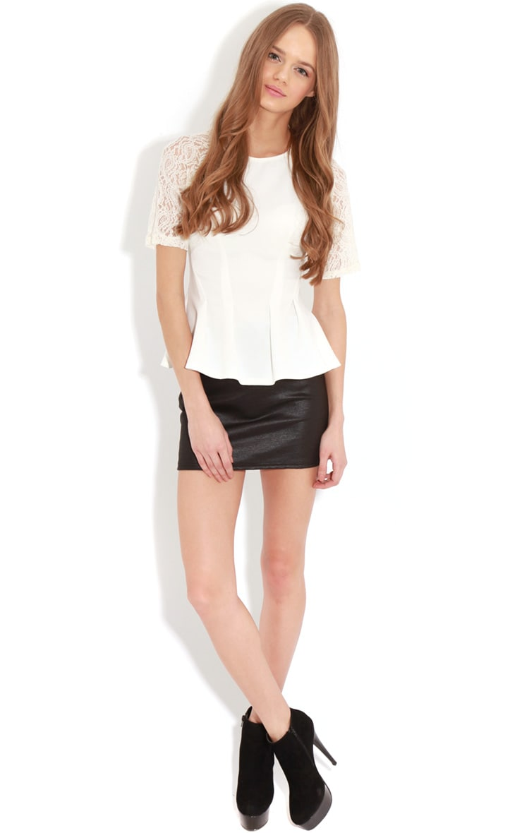 Tamia Cream Peplum Top With Lace Capped Sleeves 3