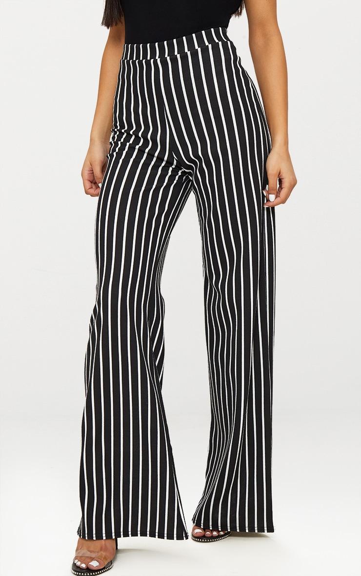 Black Crepe Pinstripe Wide Leg Trouser 2