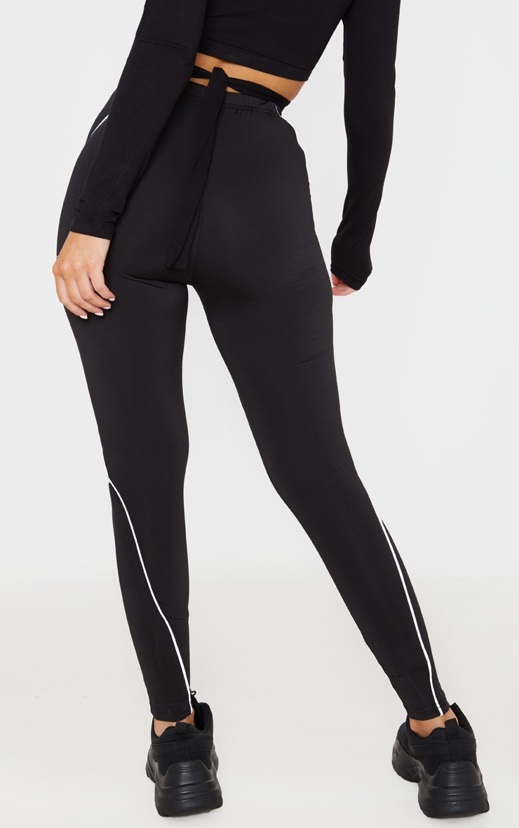 Black Reflective Piping High Waist Gym Legging 4