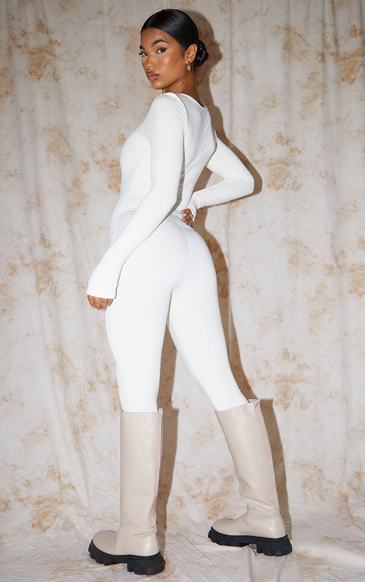 Recycled Cream Contour Jersey Thumbhole Scoop Neck Jumpsuit 2