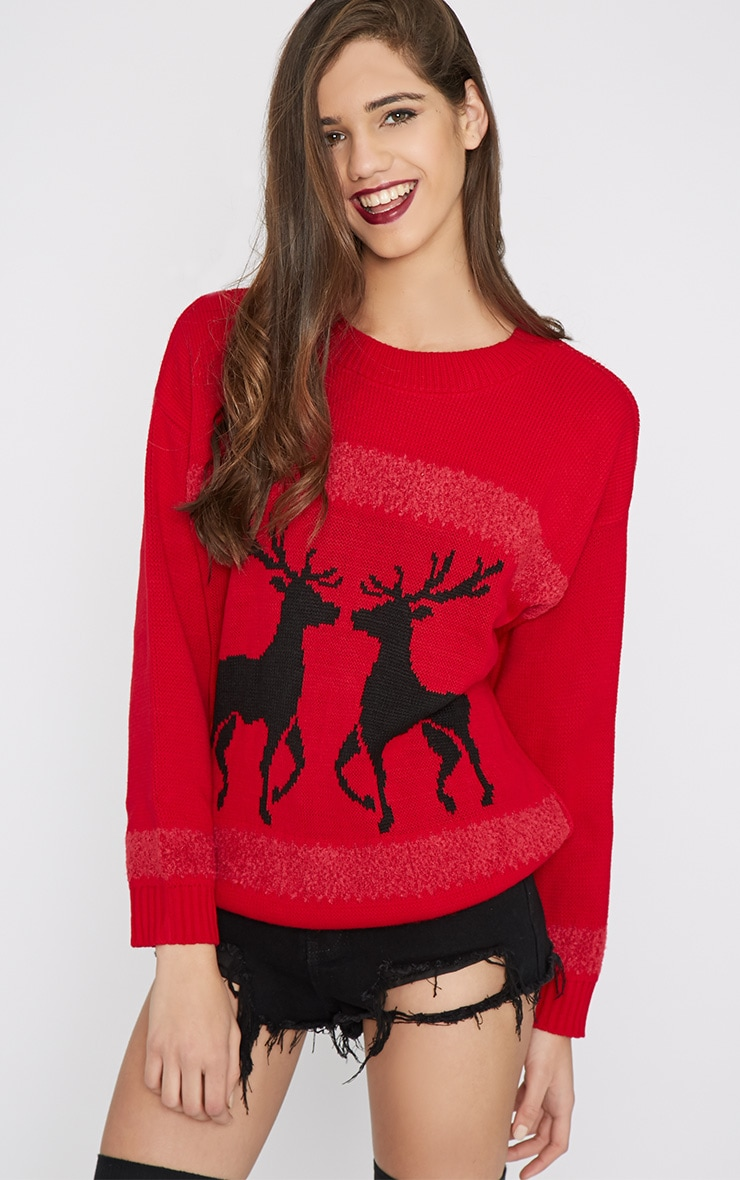 Nicola Red & Black Reindeer Jumper-One Size 5