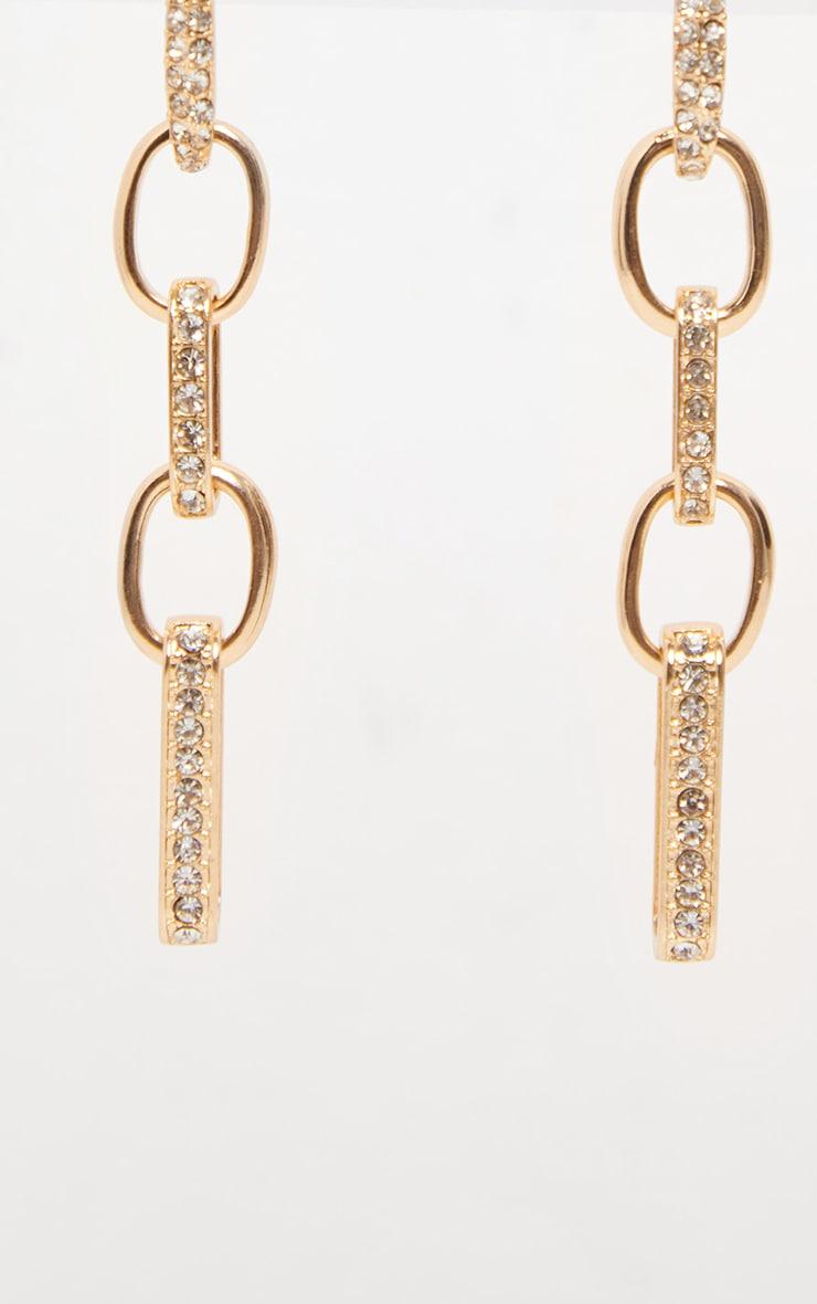 Gold Diamante Link Chain Earrings 3