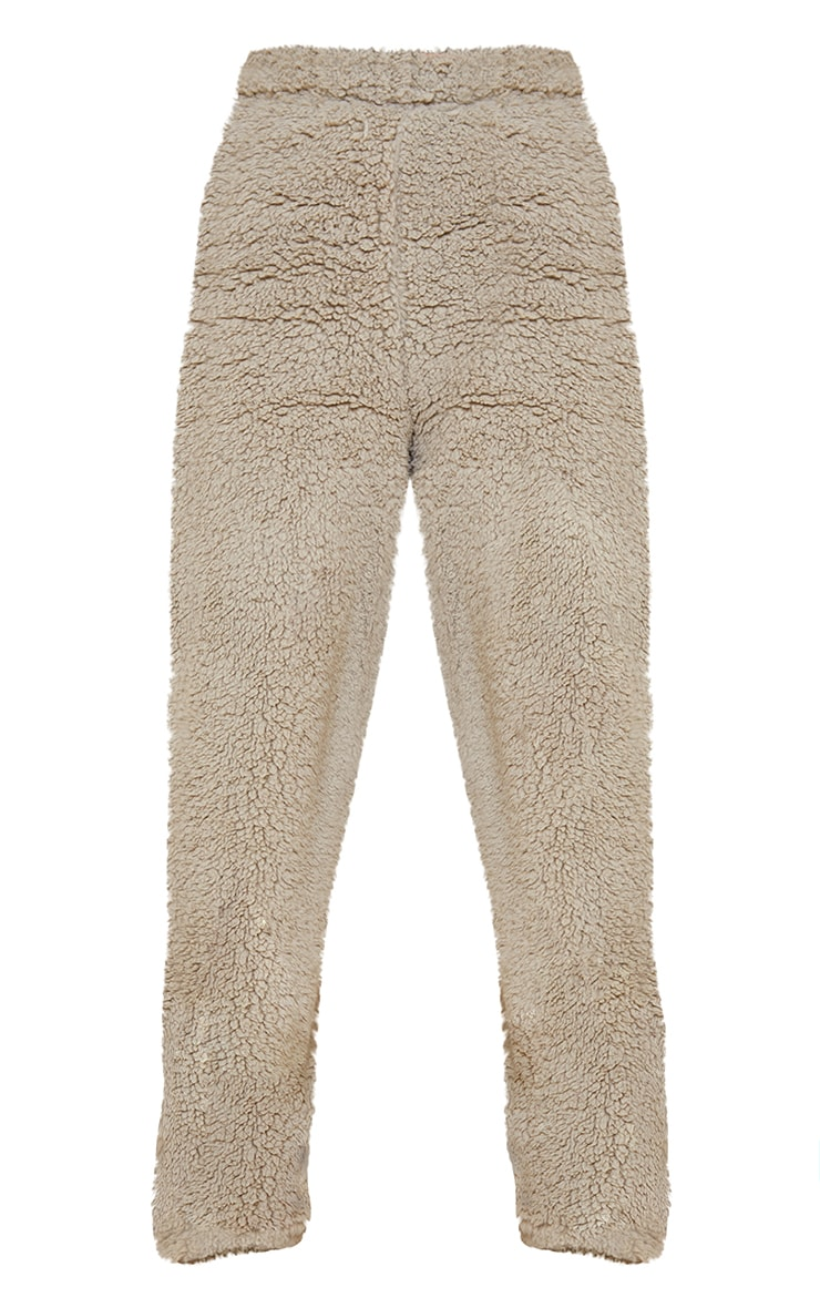 Petite Sage Green Soft Borg Wide Leg Pocket Detail Joggers 5