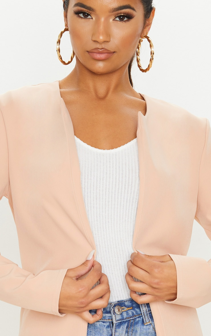 Stone Collarless Longline Jacket 5