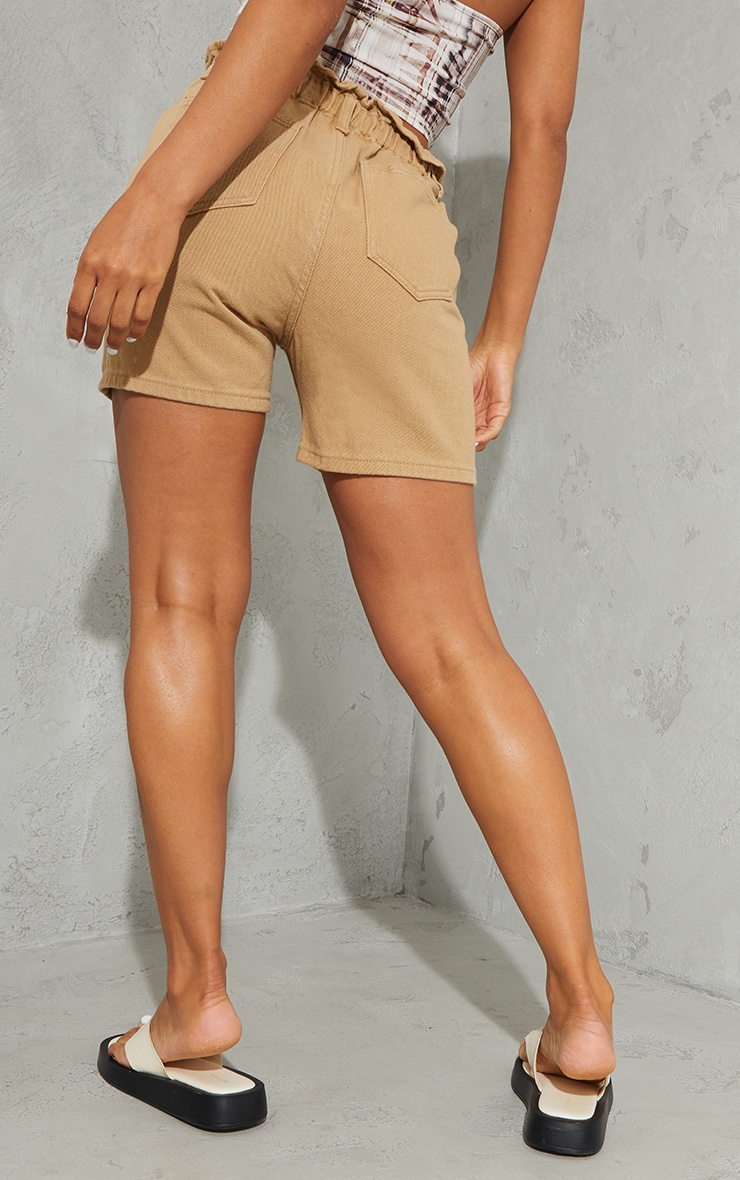Tan Paperbag Waist Shorts 3