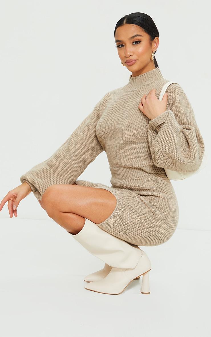 Petite Stone Oversized Balloon Sleeve Knitted Crop Sweater 3