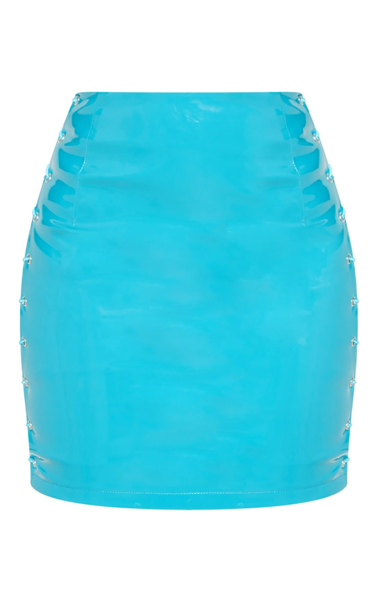 Teal Vinyl Lace Up Side Mini Skirt 3