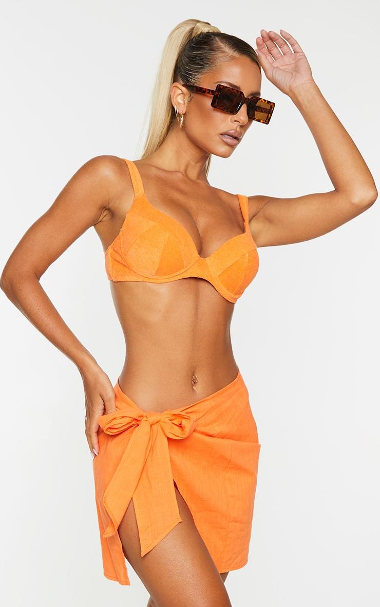 Orange Mini  Cotton Tie Sarong 4