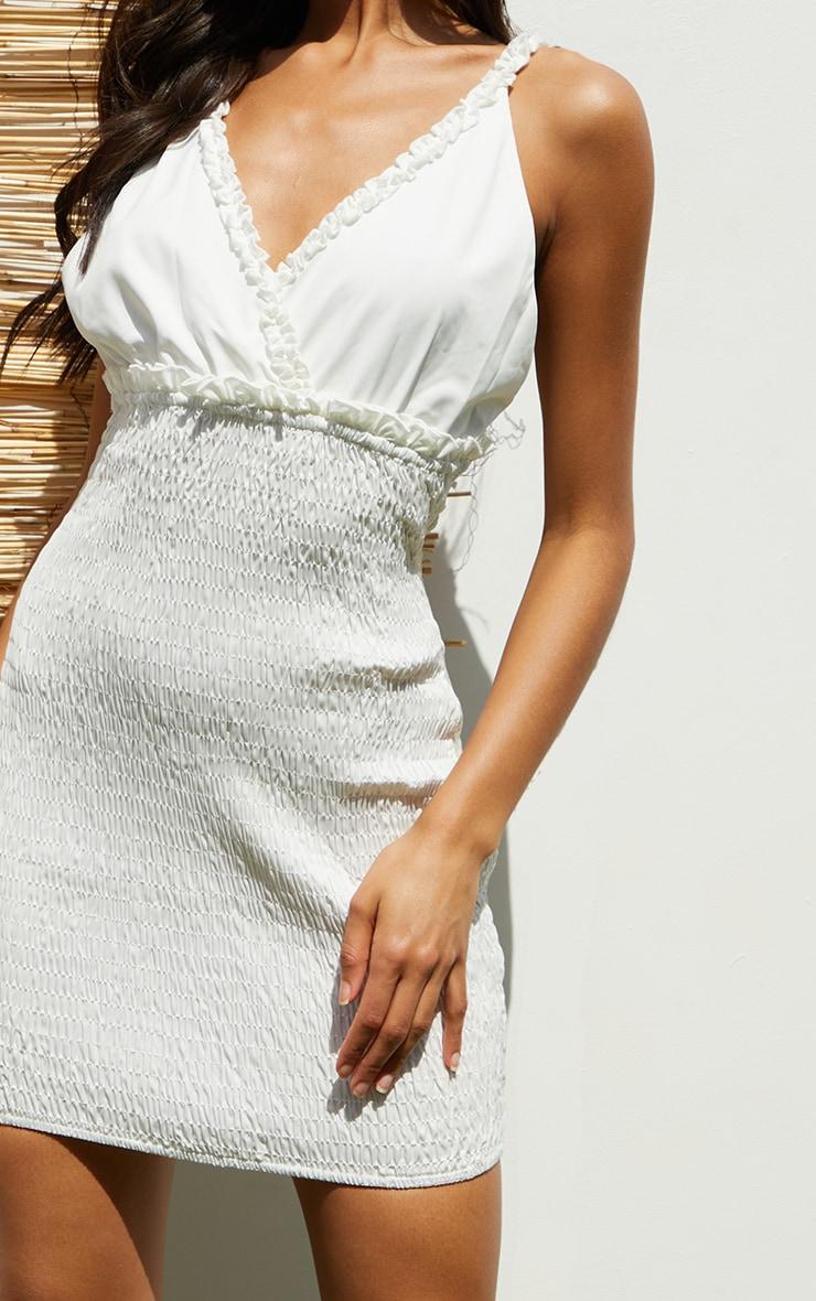White Shirred Strappy Woven Bodycon Dress 4