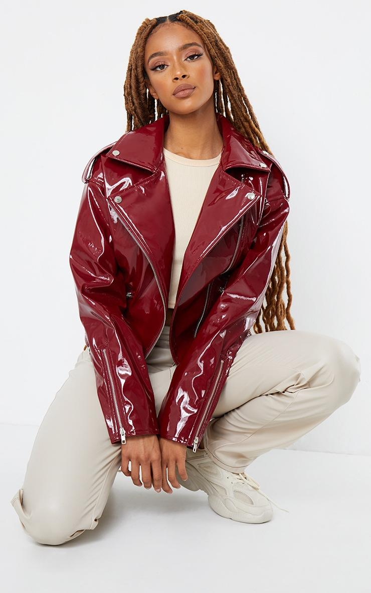 Burgundy Vinyl Zip Up Belted Jacket 3