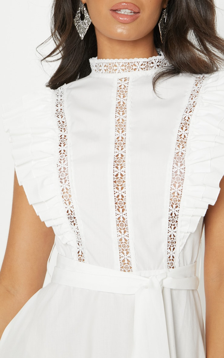 White Frill Sleeve Binding Detail Skater Dress 5