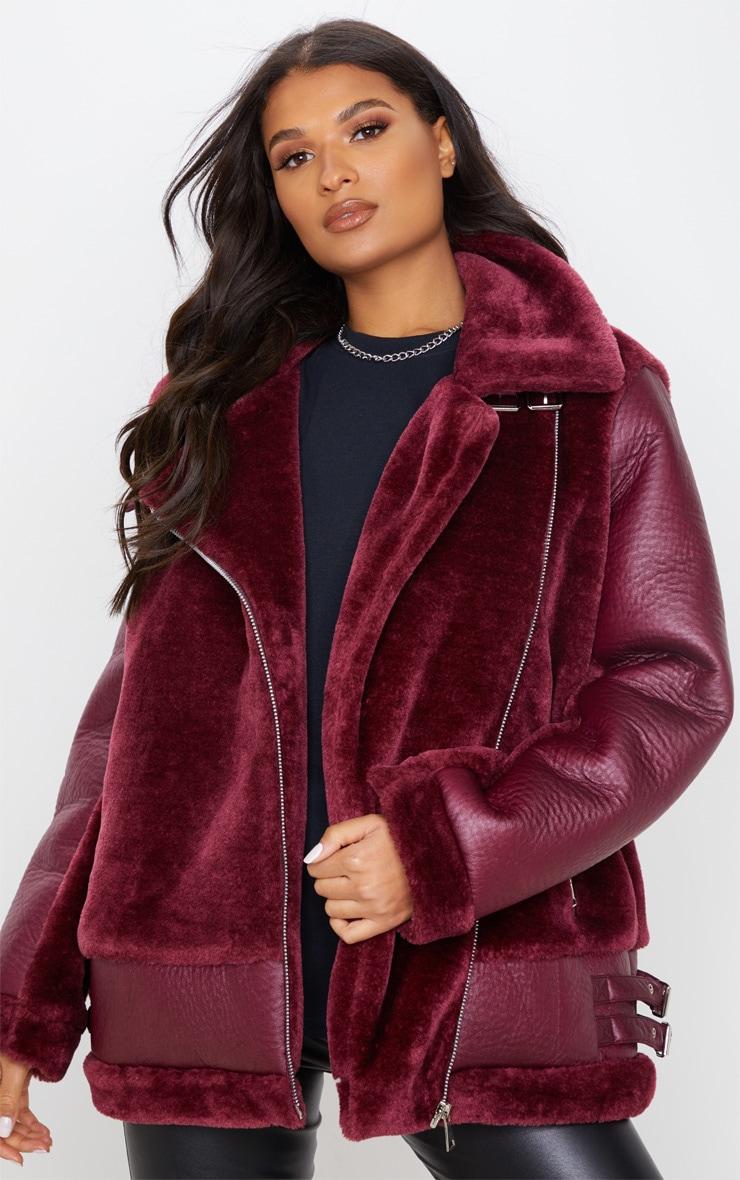 Burgundy Oversized Faux Fur Panel Aviator 4