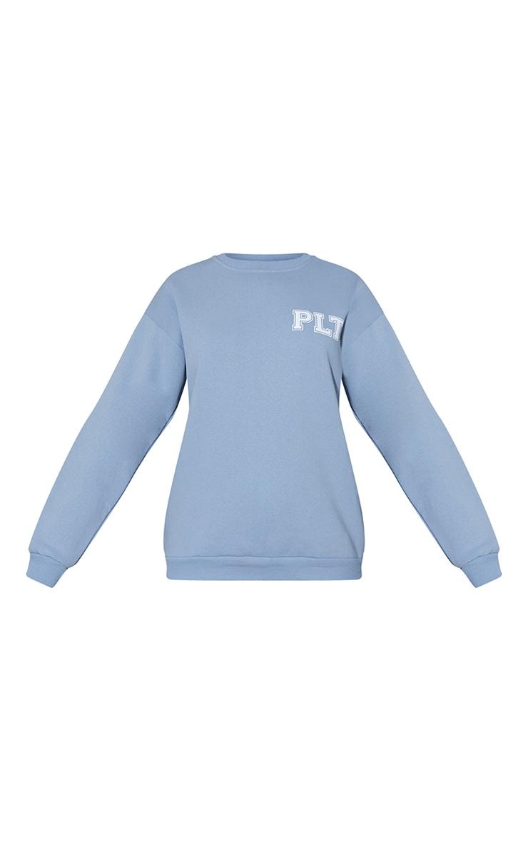 PRETTYLITTLETHING Dusty Blue Back Arm Print Slogan Sweatshirt 5