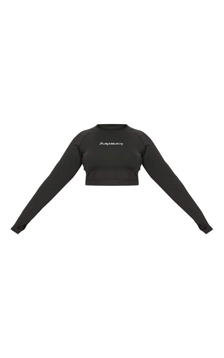 PRETTYLITTLETHING Plus Black Embroidered Long Sleeve Crop Top 3