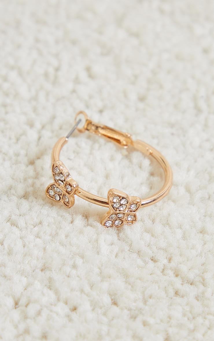 Gold Double Butterfly Hoop Earrings 3